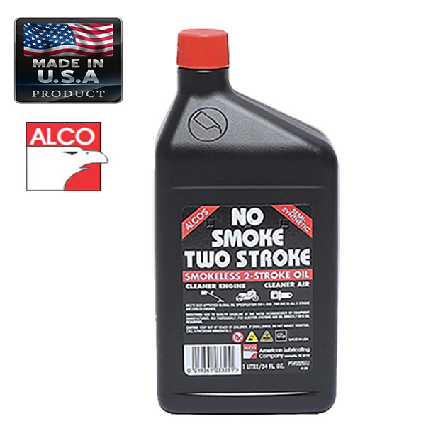 ALCO OIL NO SMOKE FOR TWO STROKE ENGINE 1lt AMERICAN LUBRICATING GARDEN TOOLS LUBRICANTS